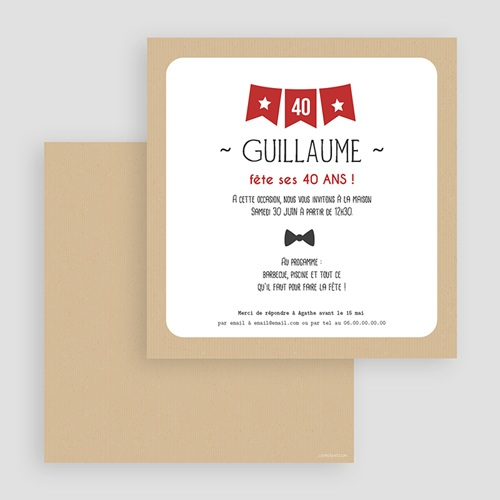 Invitation Anniversaire Adulte - Fanion 40 43016 thumb