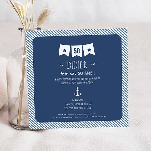 Carte Invitation Anniversaire Adulte Fanion 50