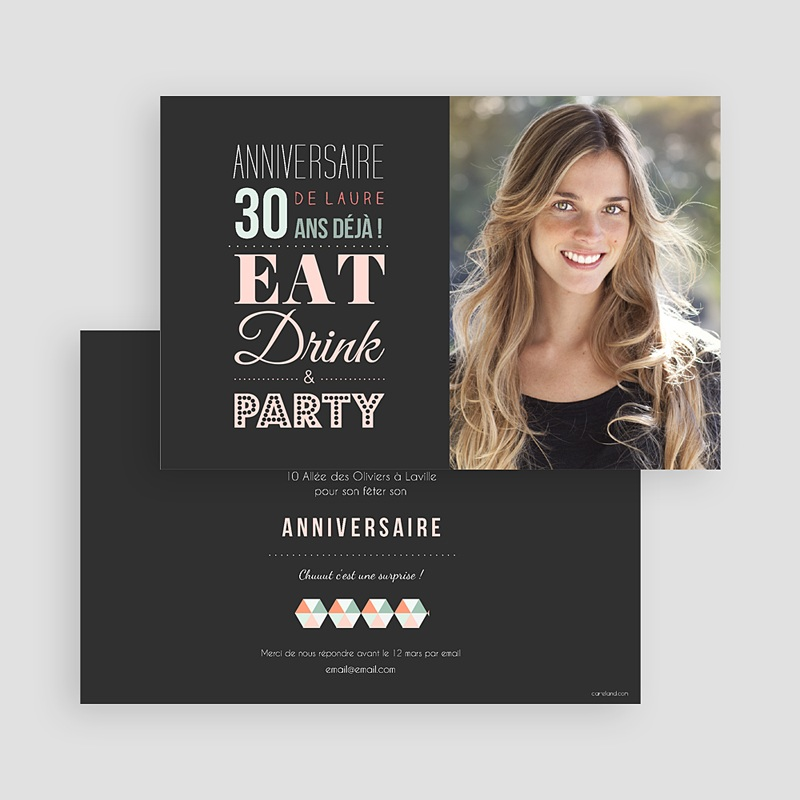 Carte Invitation Anniversaire Adulte 30 ans Party gratuit