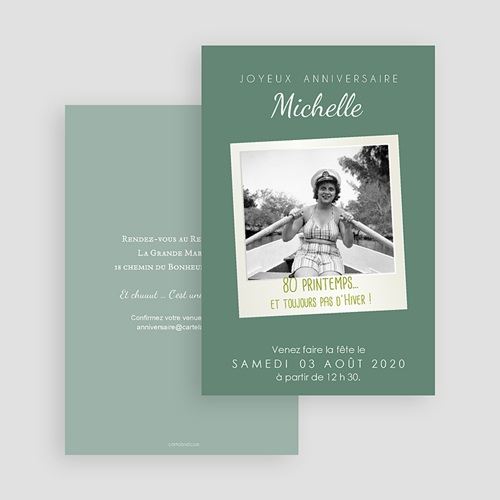 Invitation Anniversaire Adulte - 80 Pola Party 43034 thumb