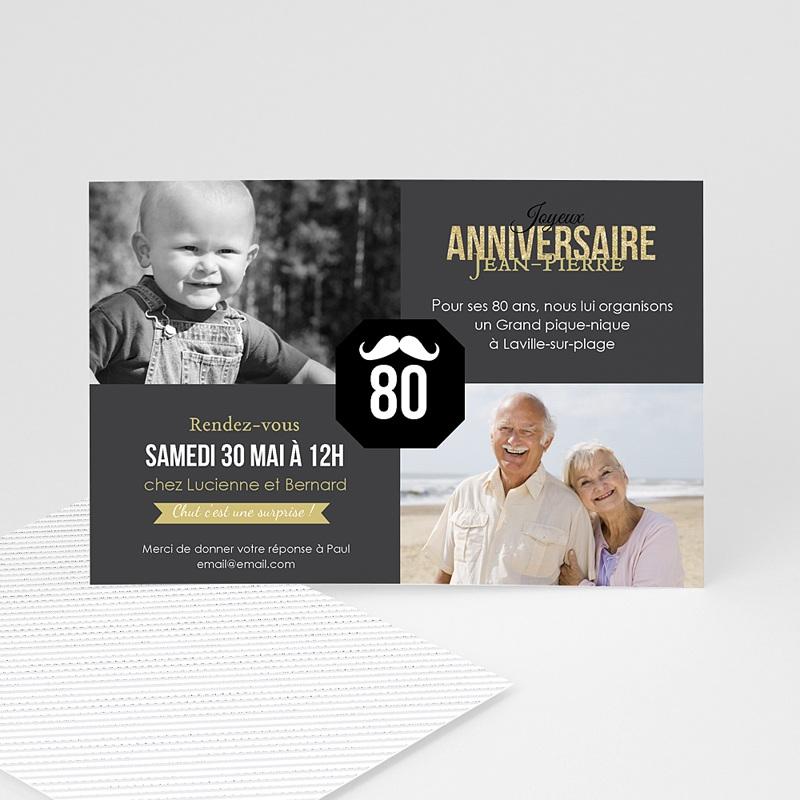 Carte invitation anniversaire adulte 80è Anniversaire