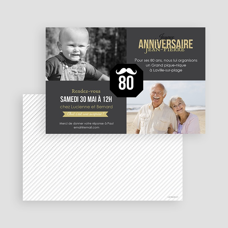 Carte invitation anniversaire adulte 80è Anniversaire gratuit