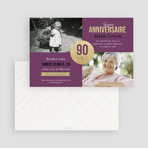 Invitation Anniversaire Adulte - 90è Anniversaire 43046 preview