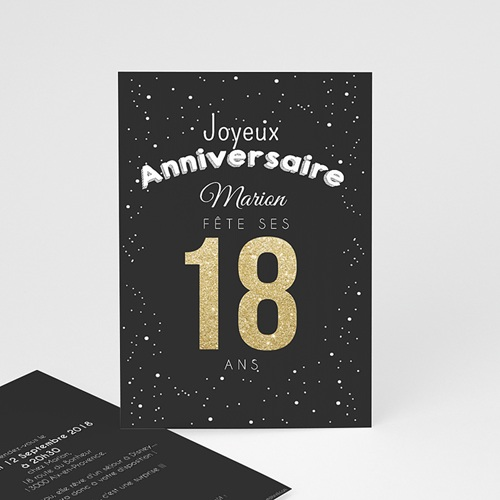 Carte invitation anniversaire adulte 18 doré