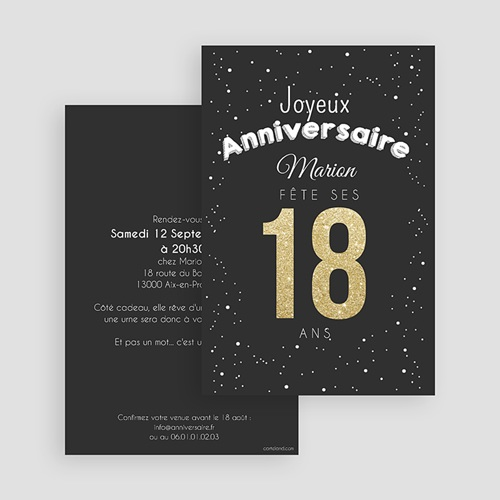 Invitation Anniversaire Adulte - 18 doré 43052 preview