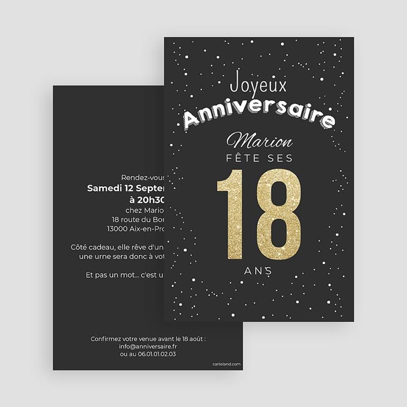 Carte Invitation Anniversaire Adulte 18 doré gratuit