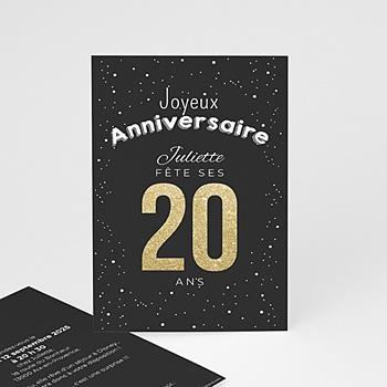 Carte invitation anniversaire adulte 20 ans dorés