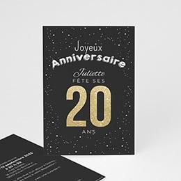 Invitations Anniversaire adulte 20 ans dorés