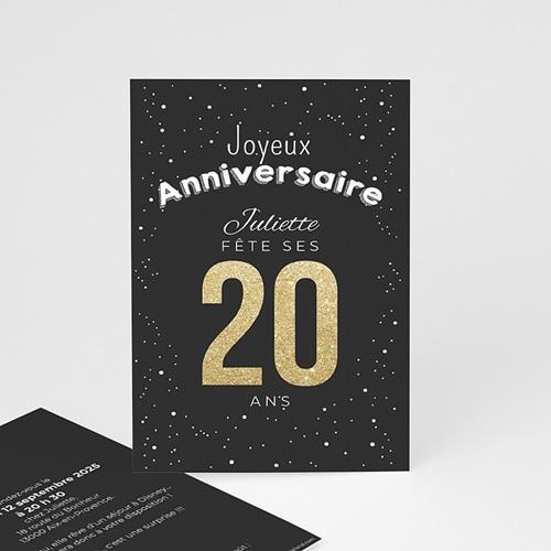 Invitation Anniversaire Adulte - 20 ans dorés 43056
