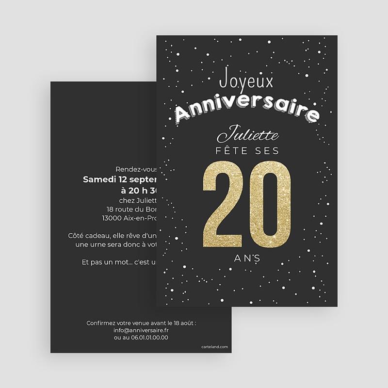 Carte Invitation Anniversaire Adulte 20 ans dorés gratuit