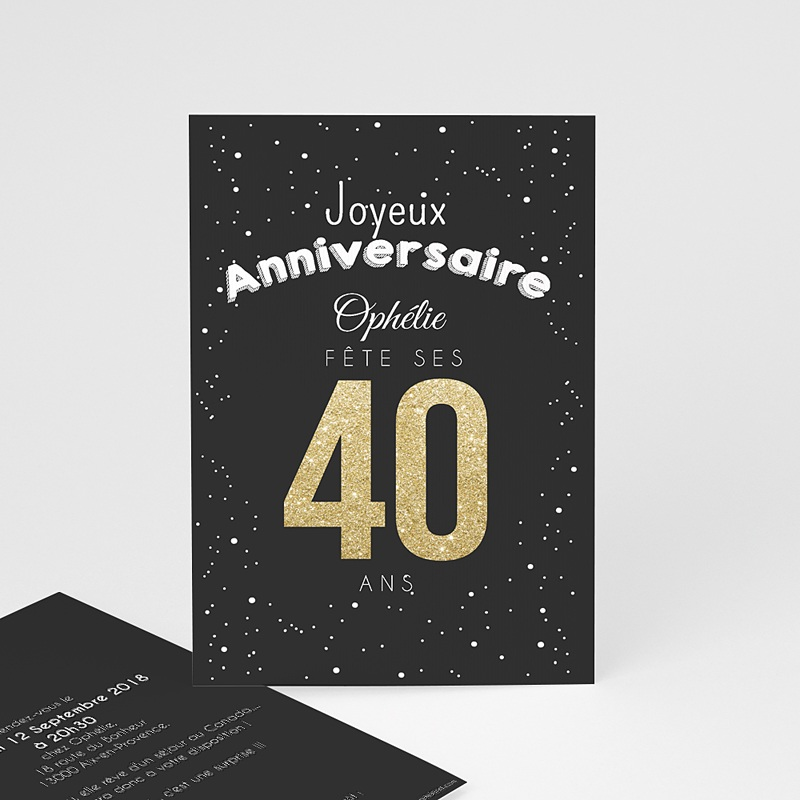 Carte Invitation Anniversaire Adulte 40 doré