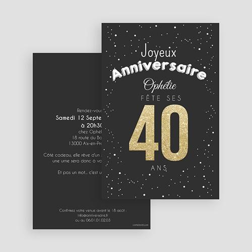 Carte Invitation Anniversaire Adulte 40 doré gratuit