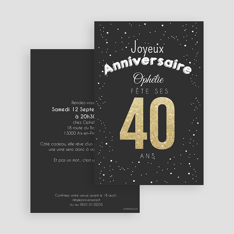 Invitation Anniversaire Adulte - 40 doré 43070 thumb