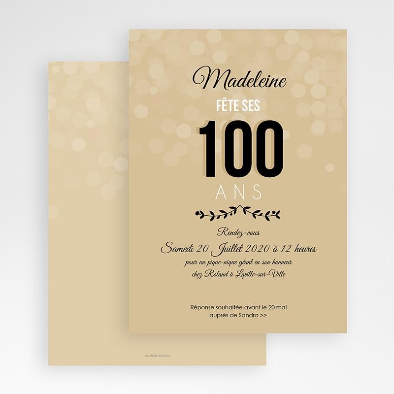 Carte Invitation Anniversaire Adulte 100 ANS ! gratuit
