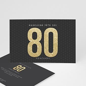 Carte invitation anniversaire adulte Or 80