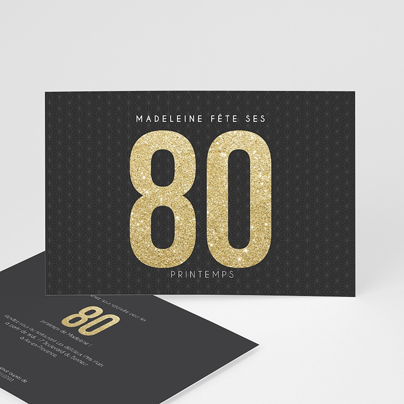 Carte invitation anniversaire adulte Or 80