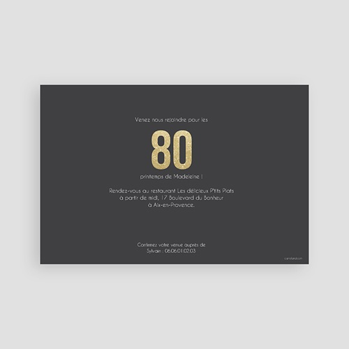 Carte invitation anniversaire adulte Or 80 pas cher
