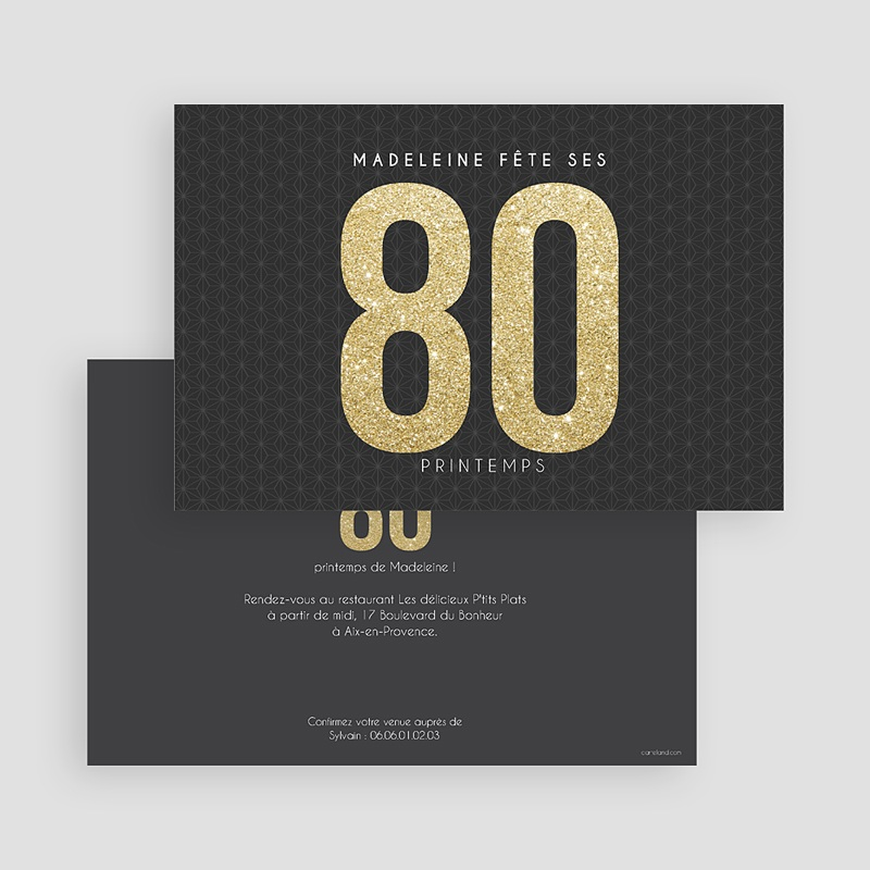 Carte invitation anniversaire adulte Or 80 gratuit