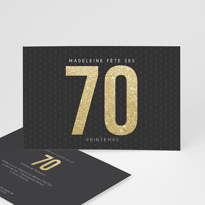 Carte invitation anniversaire adulte 70 or
