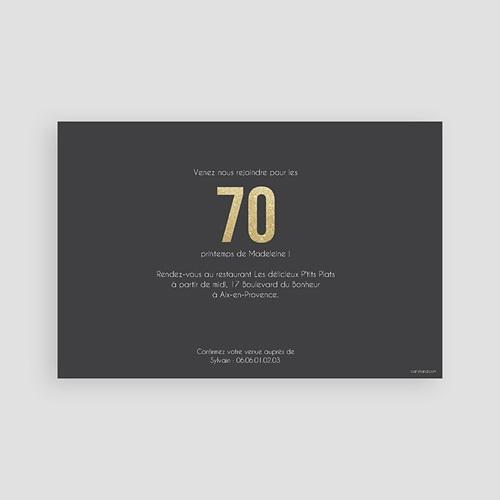 Carte invitation anniversaire adulte 70 or pas cher