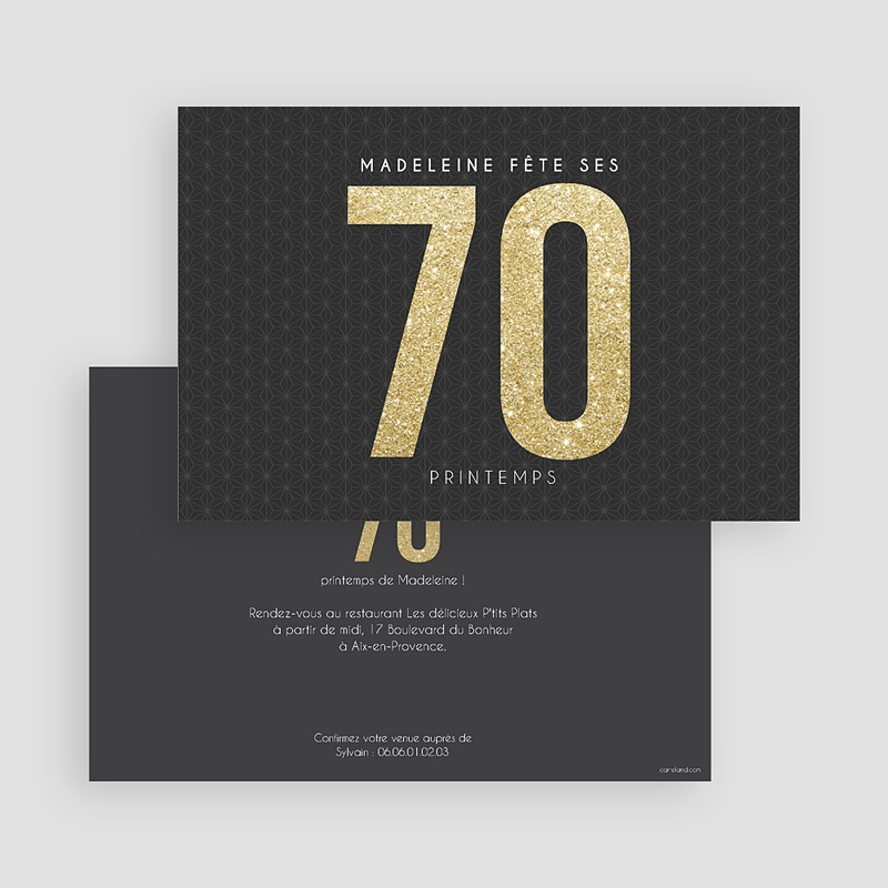 Carte invitation anniversaire adulte 70 or gratuit