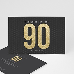 Invitations Anniversaire adulte 90 à 99 ans Or