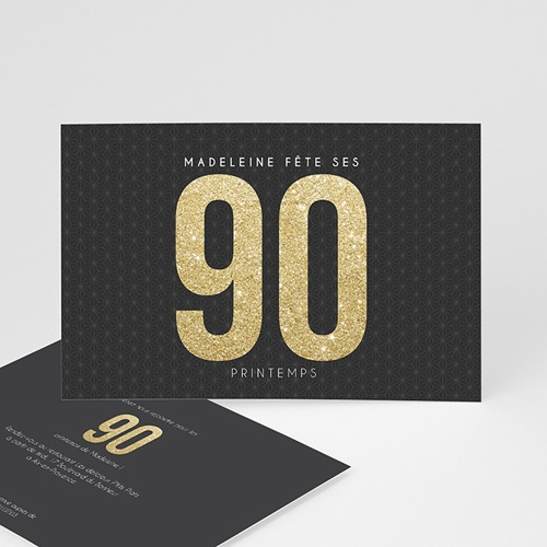 Invitation Anniversaire Adulte - 90 à 99 ans Or 43101 thumb