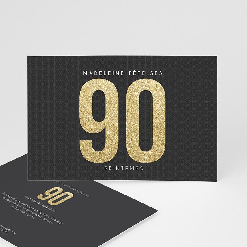 Carte invitation anniversaire adulte 90 à 99 ans Or