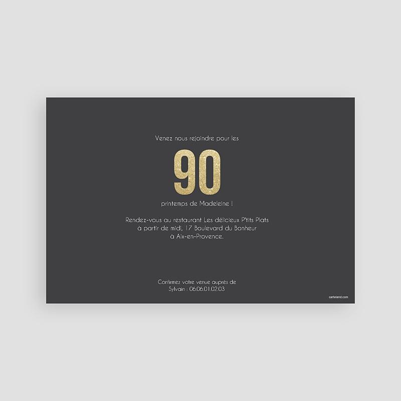Carte invitation anniversaire adulte 90 à 99 ans Or pas cher