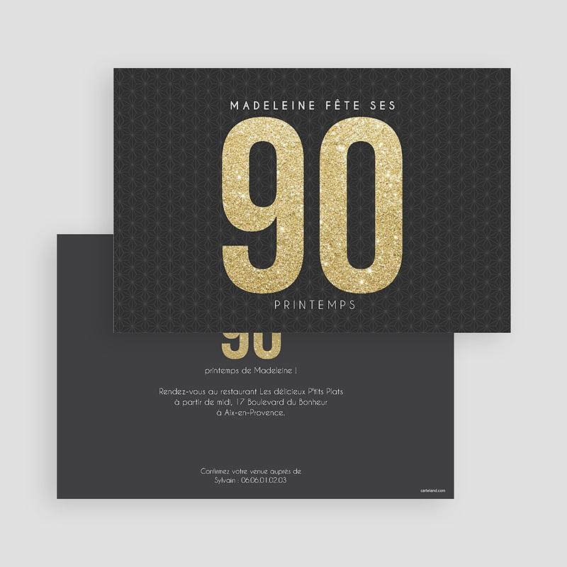 Carte invitation anniversaire adulte 90 à 99 ans Or gratuit