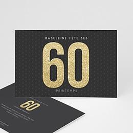 Carte invitation anniversaire adulte 60 or