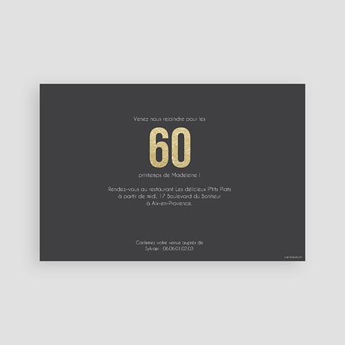 Carte Invitation Anniversaire Adulte 60 or pas cher