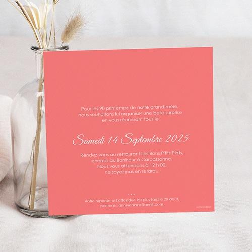 Carte Invitation Anniversaire Adulte 90 années fleuries pas cher