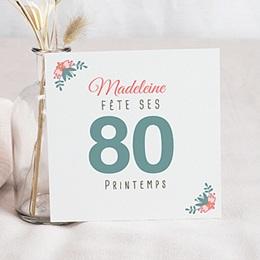 Carte invitation anniversaire adulte 80 jolies fleurs