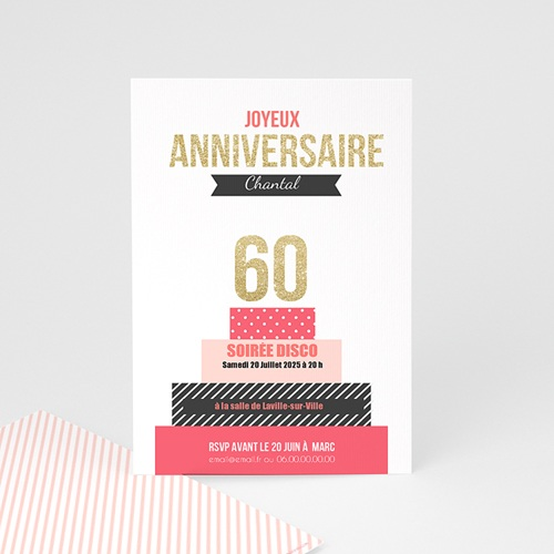 Invitation Anniversaire Adulte - Gâteau anniversaire 43149