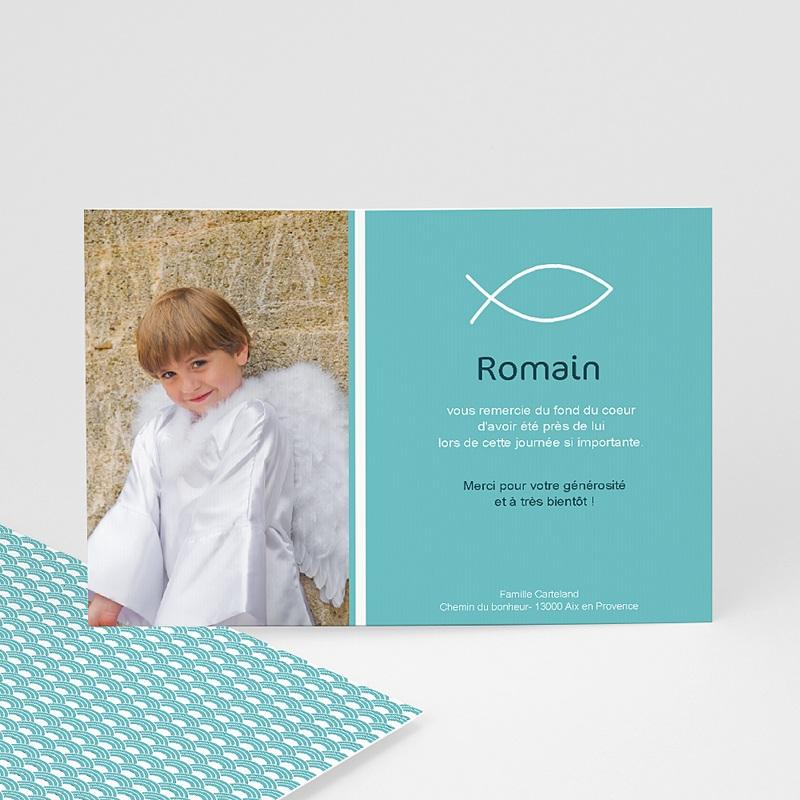 Carte remerciement communion garçon Pêche spirituelle