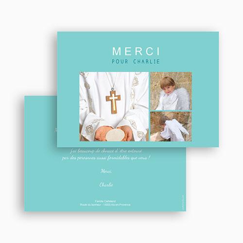 Carte Remerciement Communion Garçon Multi-Typo gratuit