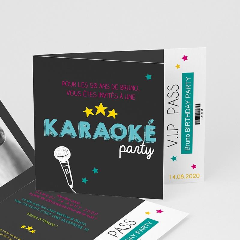 Carte invitation anniversaire adulte Karaoké party