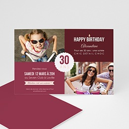 Carte invitation anniversaire adulte Damier photo