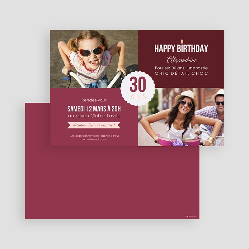 Carte Invitation Anniversaire Adulte Damier photo gratuit