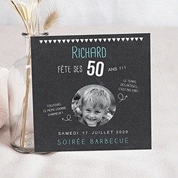 Carte invitation anniversaire adulte 50 ans ardoise