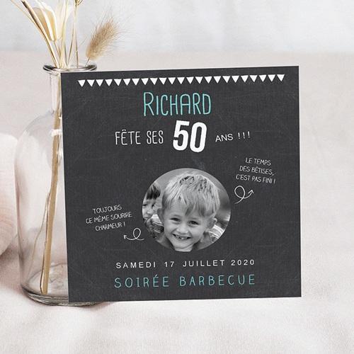 carte invitation 50 ans Carte Invitation Anniversaire Adulte 50 ans ardoise | Echantillon
