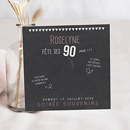 Invitations Anniversaire adulte 90 ans ardoise