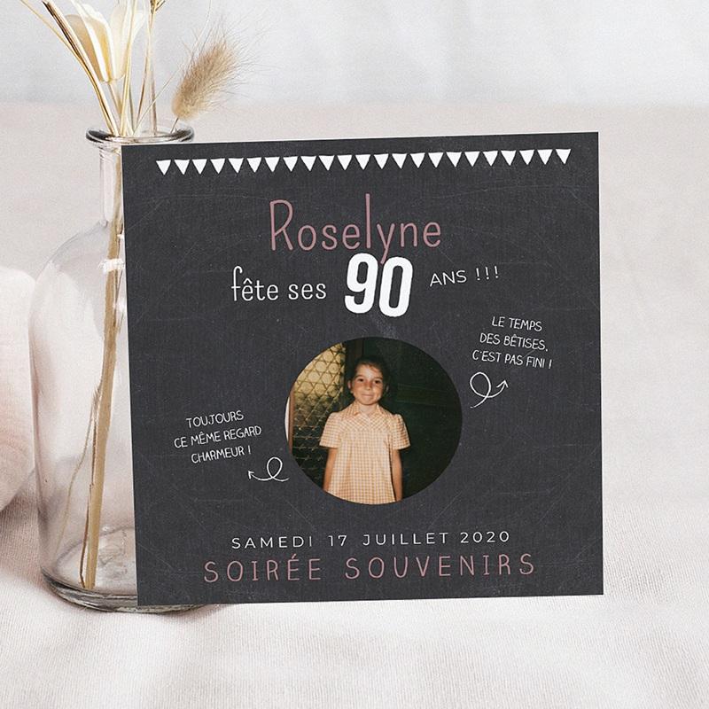 Carte Invitation Anniversaire 90 Ans Avec Ou Sans Photo