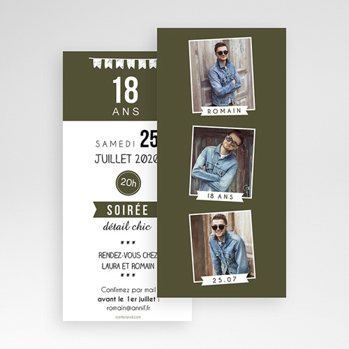 Invitation Anniversaire Adulte - 18 ans - Photo Matoo 43304 thumb