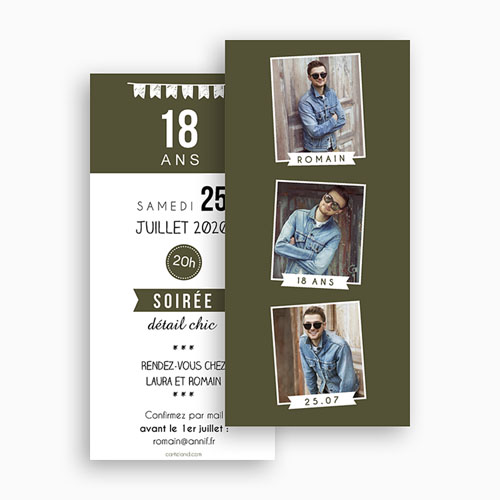 Invitation Anniversaire Adulte - 18 ans - Photo Matoo 43305 thumb