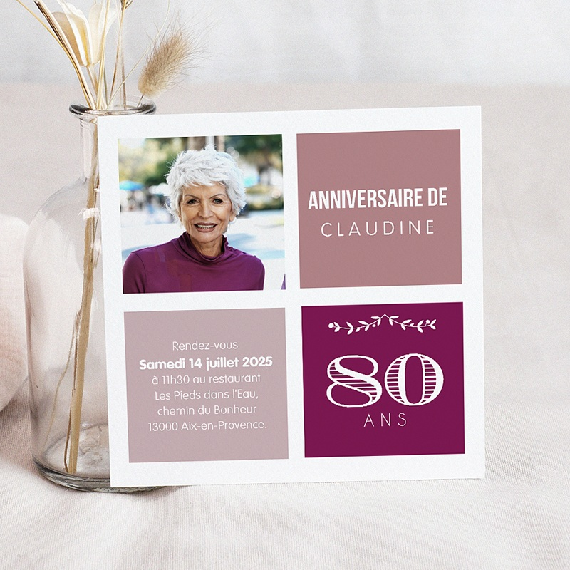 invitation anniversaire adulte 80 ans typo. Black Bedroom Furniture Sets. Home Design Ideas