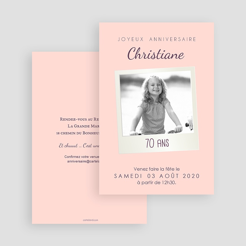Carte Invitation Anniversaire Adulte 70 Pola Party gratuit