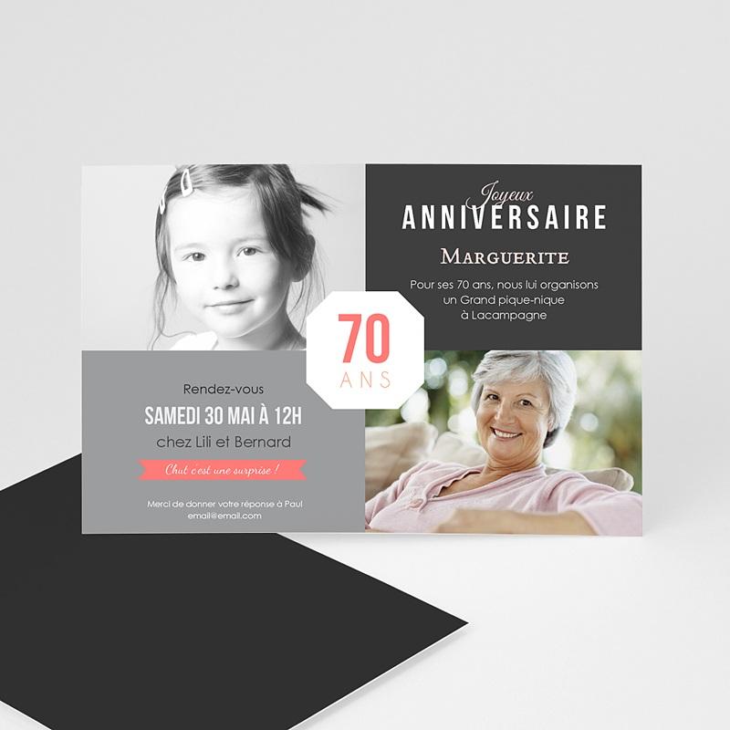 Carte Invitation Anniversaire Adulte 70è Anniversaire