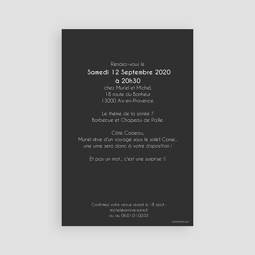 Invitation Anniversaire Adulte - 50 Doré 43334 preview